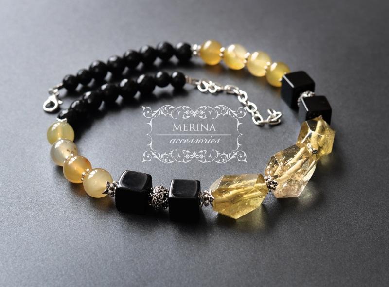 Ожерелье из цитрина и агата Медовый цвет Разноцветный Цитрин 18 * 25мм, агат ку Негрич Инна - фото 1