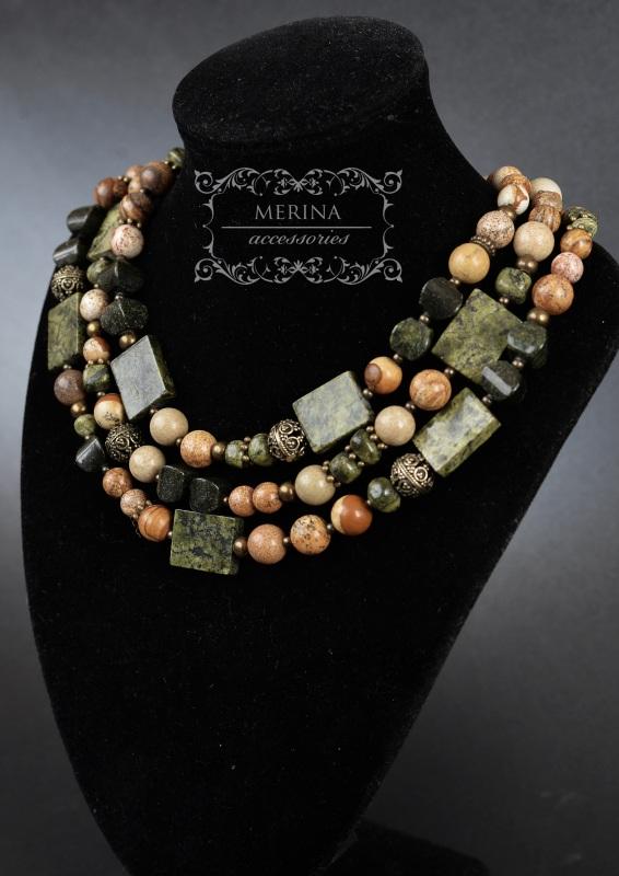 Ожерелье из яшмы и змеевика Разноцветный Яшма 8-10мм, змеевик 15 * Негрич Инна - фото 1
