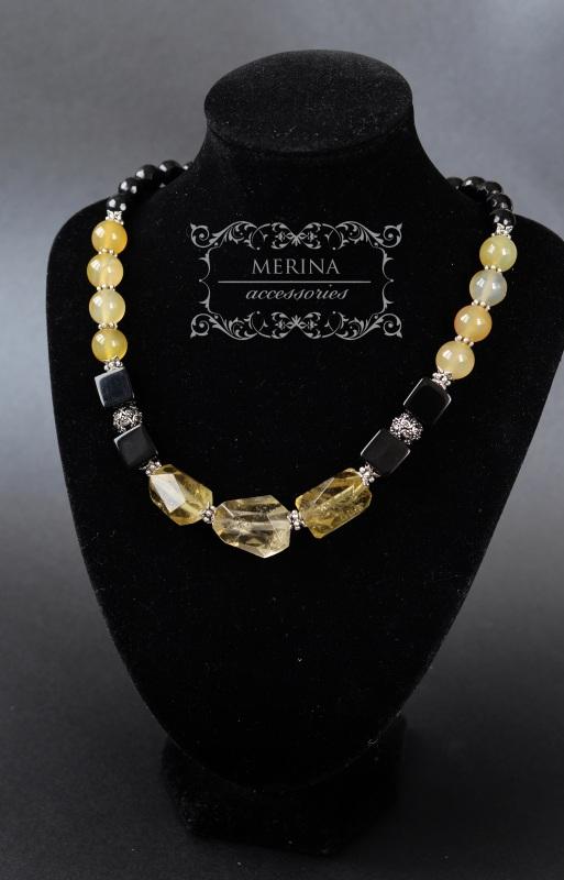 Ожерелье из цитрина и агата Медовый цвет Разноцветный Цитрин 18 * 25мм, агат ку Негрич Инна - фото 3