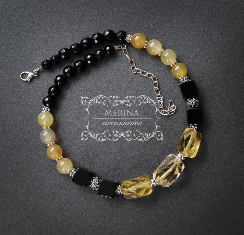 Ожерелье из цитрина и агата Медовый цвет Разноцветный Цитрин 18 * 25мм, агат ку Негрич Инна - фото 2
