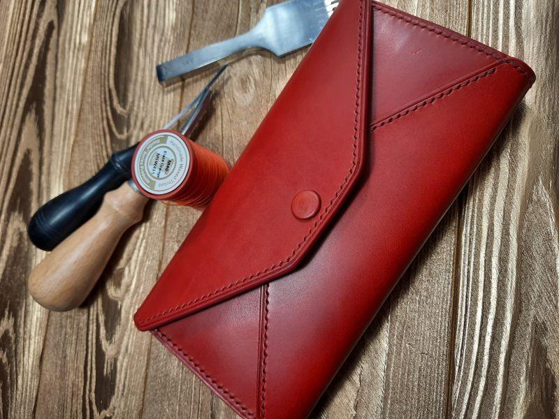 Женский кожаный кошелёк.  Красный Кожа премиумкласса butter Николаев Виталий - фото 1