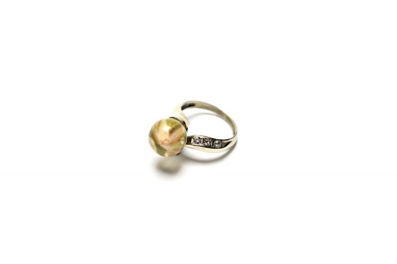 Кольцо с розой в сфере Белый Белая латунь,фианиты,ювел Новицкая Ольга - фото 3
