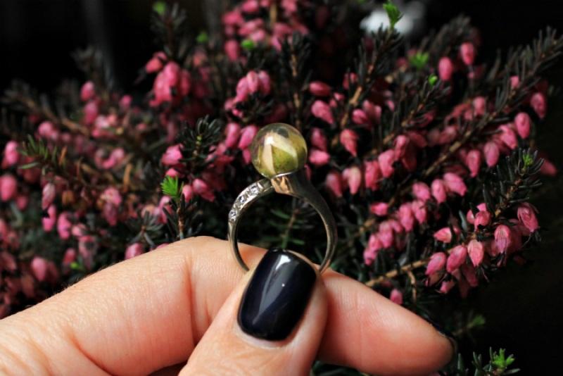 Кольцо с розой в сфере Белый Белая латунь,фианиты,ювел Новицкая Ольга - фото 2