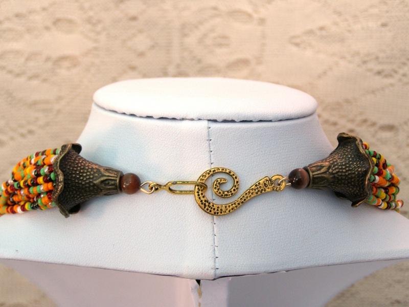 Летний комплект - колье, серьги и браслет из бисера  Чешский и японский бисер, Оберемок Оксана - фото 8