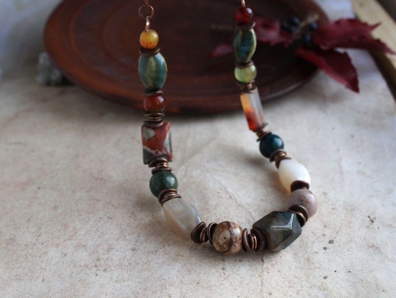 Ожерелье из камня, бусы из яшмы и агата Разноцветный яшма, агат, кварц, фурнит Олейник Наталья - фото 3