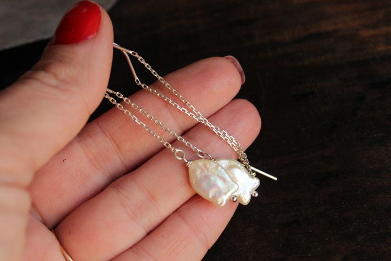 Серебряные серьги протяжки с жемчугом Белый серебро, жемчуг Олейник Наталья - фото 1