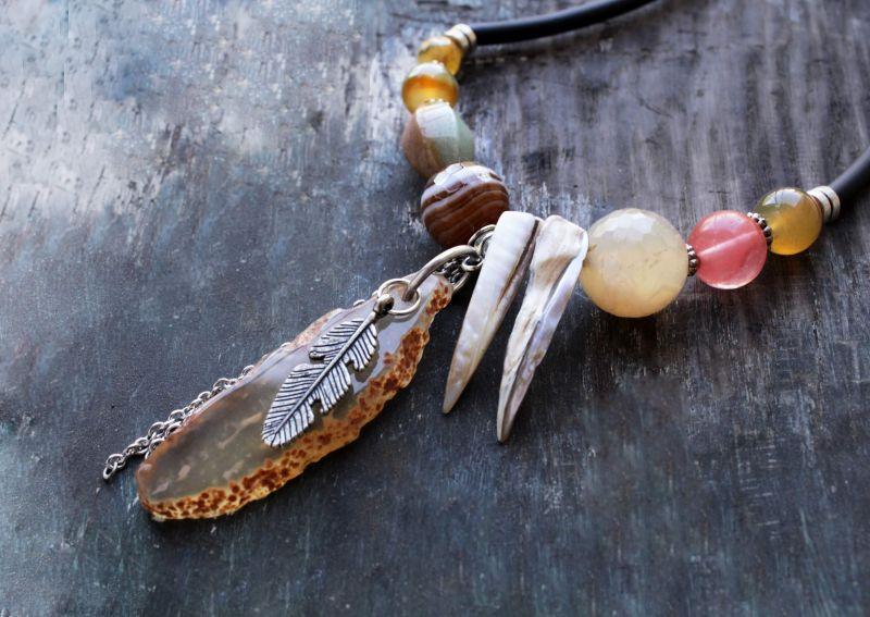 Асимметричное ожерелье бохо со срезом Агата и натуральным камнем Разноцветный Агат,кварц,срез агата Олейник Наталья - фото 3