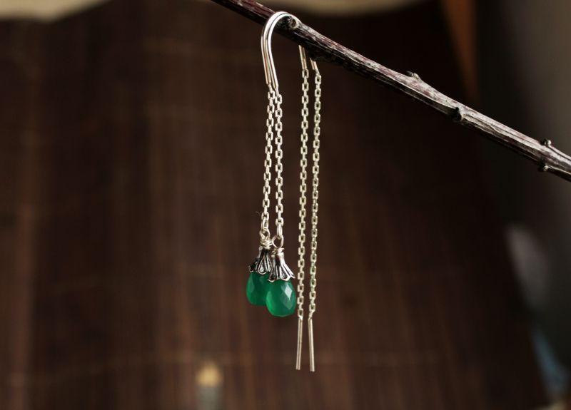 Серебряные серьги протяжки с зеленым камнем Зеленый серебро натуральный камен Олейник Наталья - фото 1