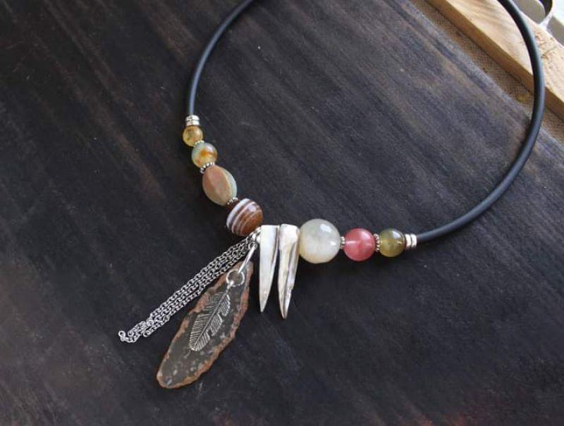 Асимметричное ожерелье бохо со срезом Агата и натуральным камнем Разноцветный Агат,кварц,срез агата Олейник Наталья - фото 1