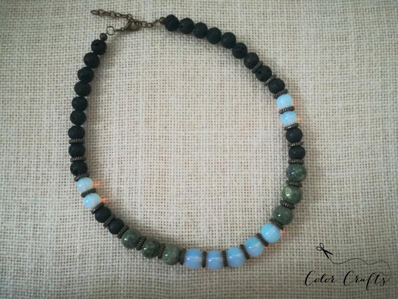 Месяц Разноцветный Ожерелье из натурального Пилюк Ольга - фото 3