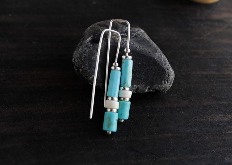 Длинные бирюзовые серьги из серебра Голубой Серебро, говорит, бирюза Олейник Наталья - фото 1