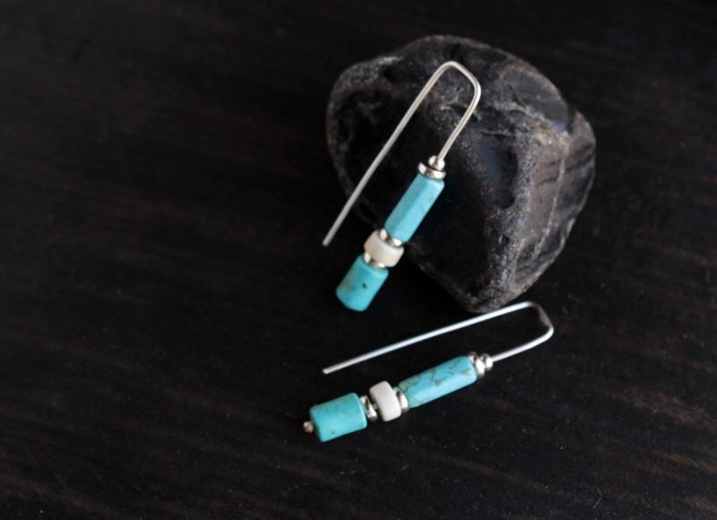 Длинные бирюзовые серьги из серебра Голубой Серебро, говорит, бирюза Олейник Наталья - фото 2