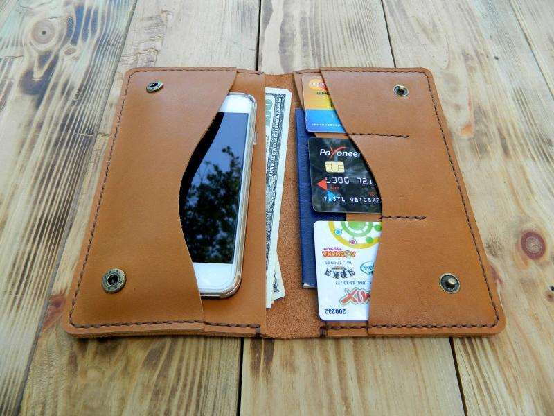 Кожаное портмоне для паспорта, телефона, карт. Цвет загар Коричневый кожа, натуральная кожа, и Онищенко Виталина - фото 1