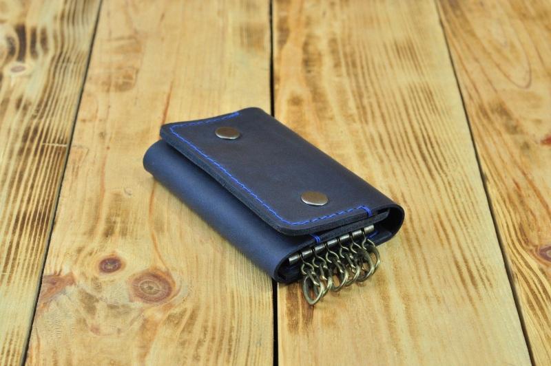 Кожаный кошелек для ключей и кредиток  кожа, натуральная кожа, и Онищенко Виталина - фото 3