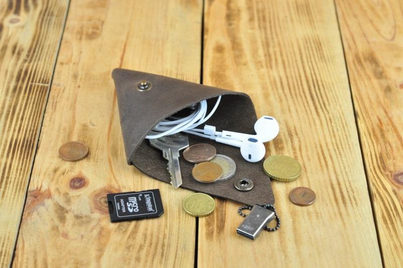 Монетница кошелек косметичка для наушников, флешек Коричневый кожа, натуральная кожа, и Онищенко Виталина - фото 6