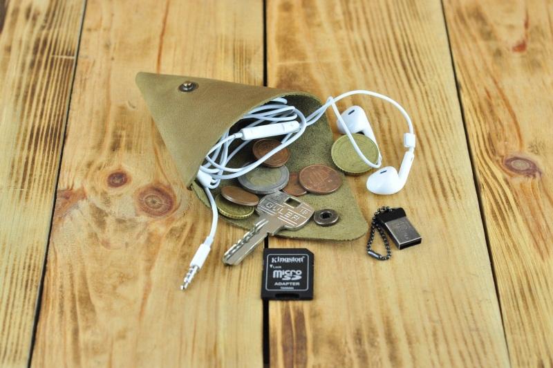 Монетница кошелек косметичка для наушников, флешек Коричневый кожа, натуральная кожа, и Онищенко Виталина - фото 1