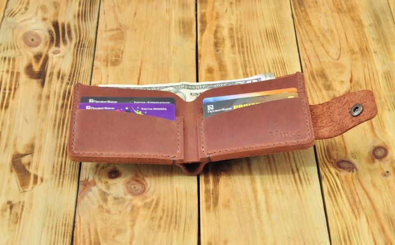 Бумажник для денег кредиток Коричневый кожа, натуральная кожа, и Онищенко Виталина - фото 3