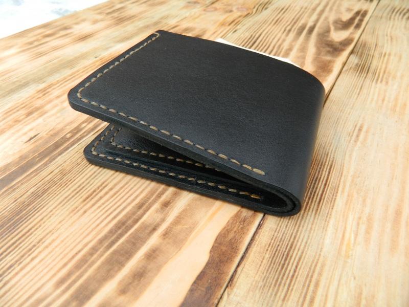 Мужской кожаный бумажник для денег и кредитных карт Черный кожа, натуральная кожа, и Онищенко Виталина - фото 4