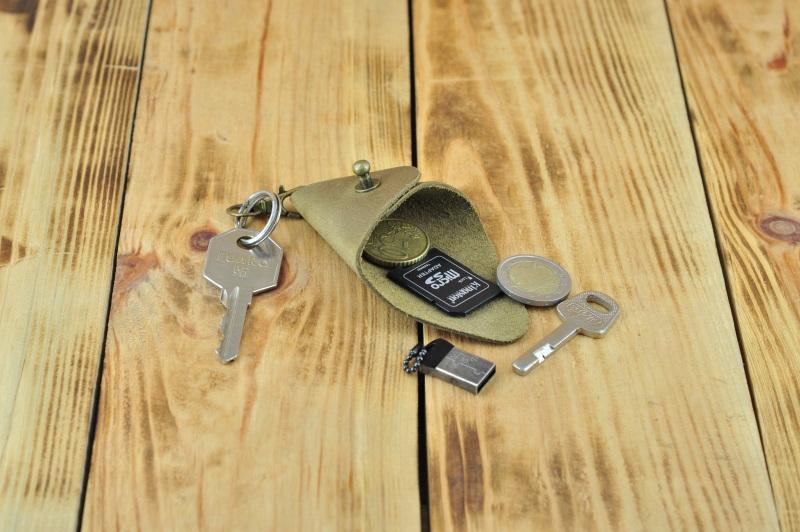 Кожаный кошелек брелок  кожа, Натуральная кожа, и Онищенко Виталина - фото 1
