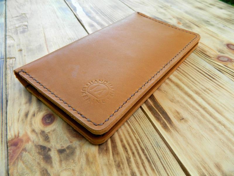 Кожаное портмоне для паспорта, телефона, карт. Цвет загар Коричневый кожа, натуральная кожа, и Онищенко Виталина - фото 3