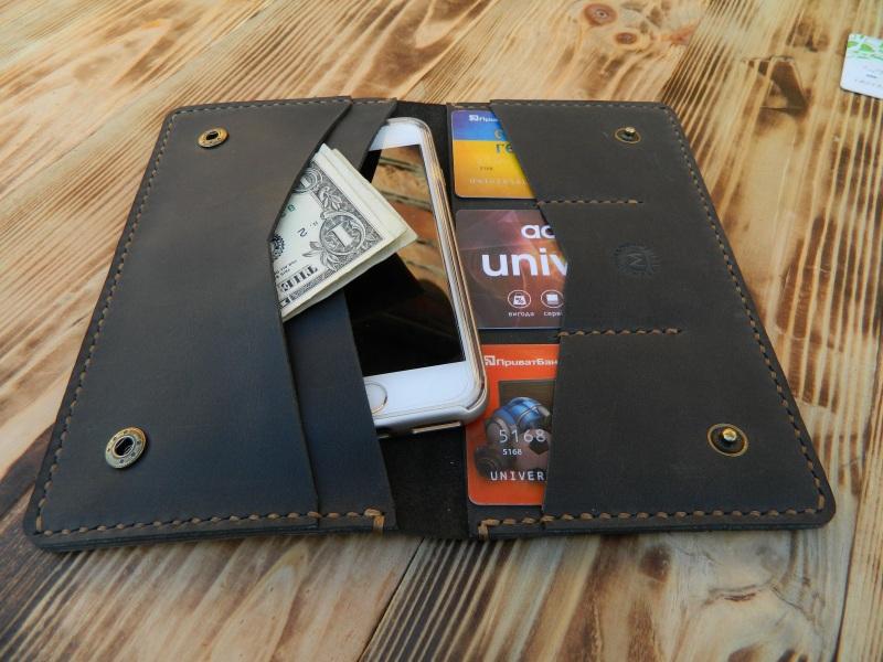 Универсальный чехол кошелек для телефона, документов, денег  кожа, натуральная кожа, и Онищенко Виталина - фото 3