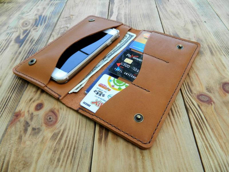 Кожаное портмоне для паспорта, телефона, карт. Цвет загар Коричневый кожа, натуральная кожа, и Онищенко Виталина - фото 4