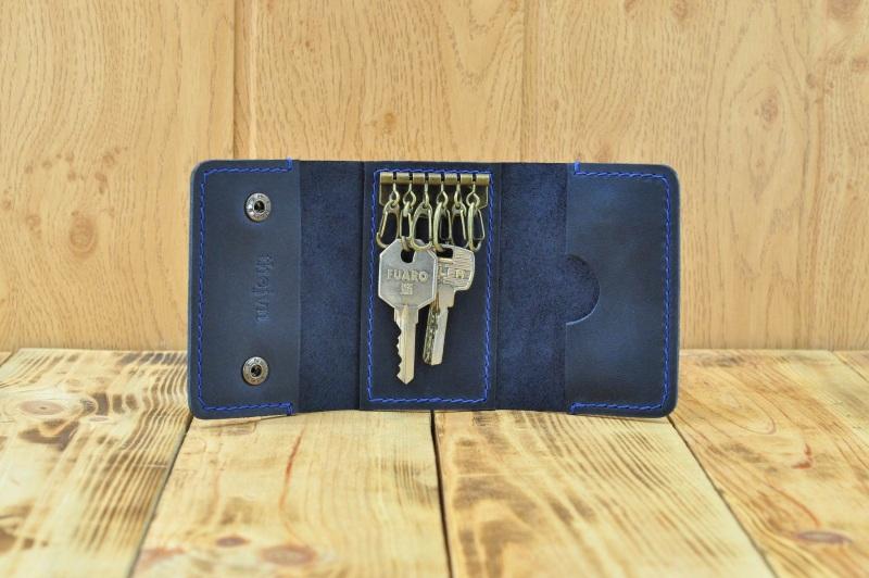 Кожаный кошелек для ключей и кредиток  кожа, натуральная кожа, и Онищенко Виталина - фото 4