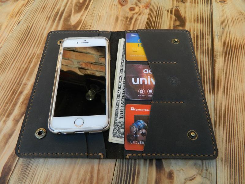 Универсальный чехол кошелек для телефона, документов, денег  кожа, натуральная кожа, и Онищенко Виталина - фото 1