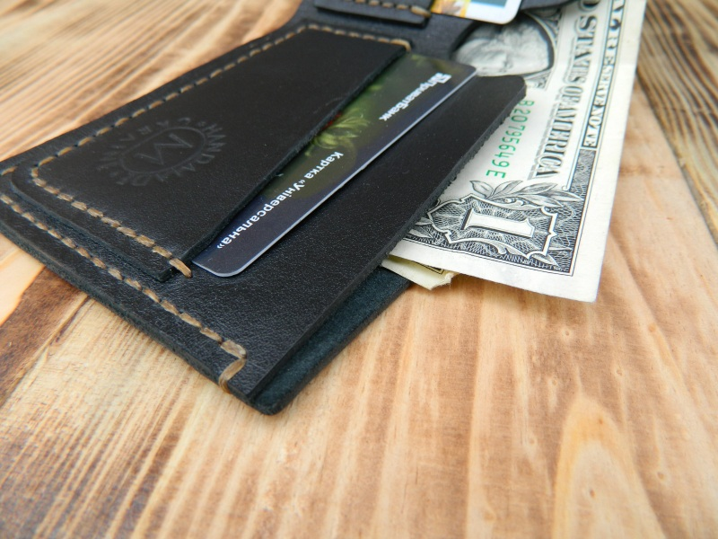 Мужской кожаный бумажник для денег и кредитных карт Черный кожа, натуральная кожа, и Онищенко Виталина - фото 5