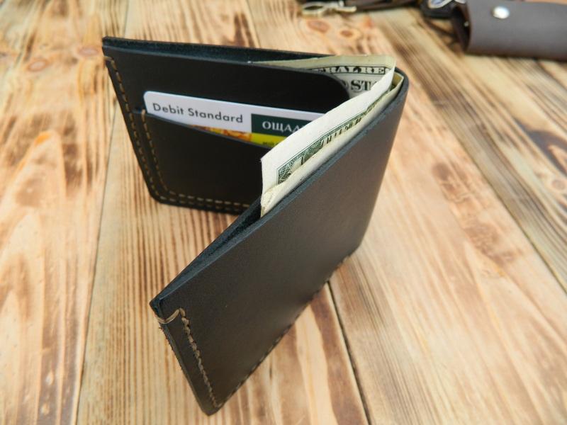 Мужской кожаный бумажник для денег и кредитных карт Черный кожа, натуральная кожа, и Онищенко Виталина - фото 2