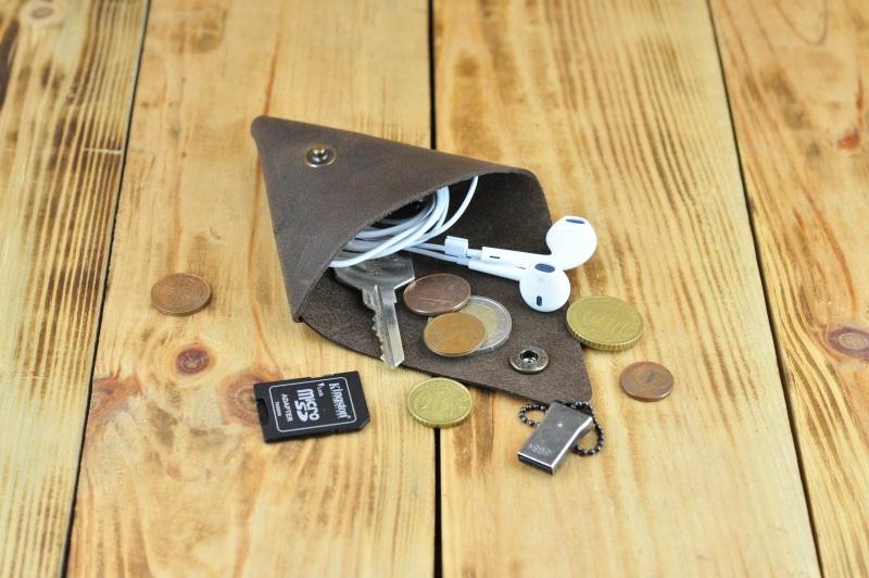 Монетница кошелек косметичка для наушников, флешек Коричневый кожа, натуральная кожа, и Онищенко Виталина - фото 4