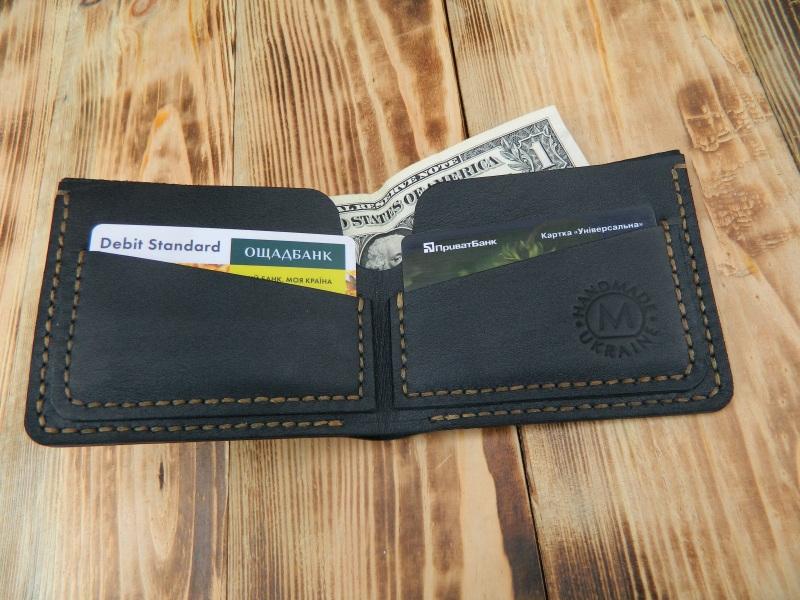 Мужской кожаный бумажник для денег и кредитных карт Черный кожа, натуральная кожа, и Онищенко Виталина - фото 1