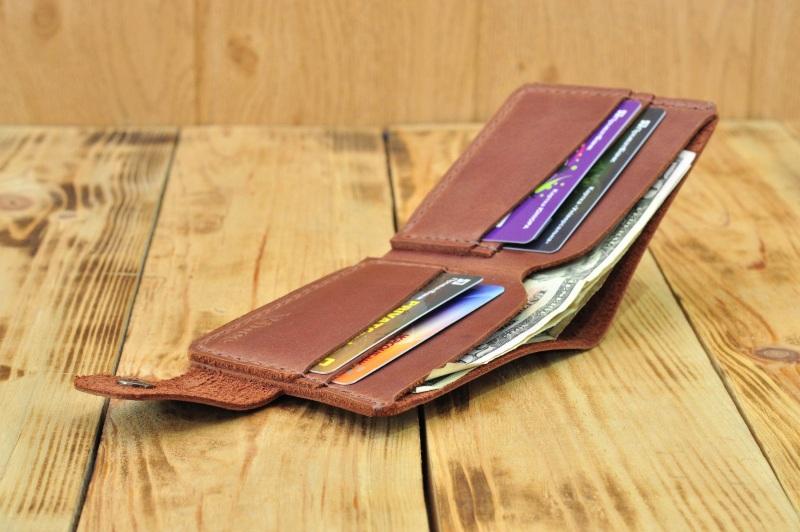 Бумажник для денег кредиток Коричневый кожа, натуральная кожа, и Онищенко Виталина - фото 4
