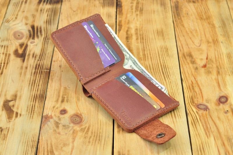 Бумажник для денег кредиток Коричневый кожа, натуральная кожа, и Онищенко Виталина - фото 1