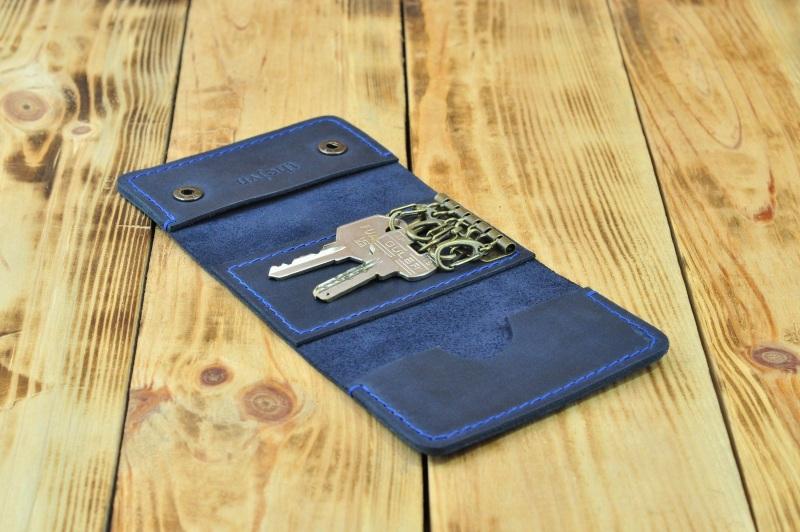 Кожаный кошелек для ключей и кредиток  кожа, натуральная кожа, и Онищенко Виталина - фото 2