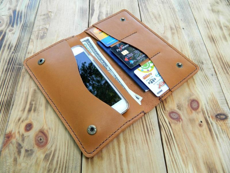 Кожаное портмоне для паспорта, телефона, карт. Цвет загар Коричневый кожа, натуральная кожа, и Онищенко Виталина - фото 5