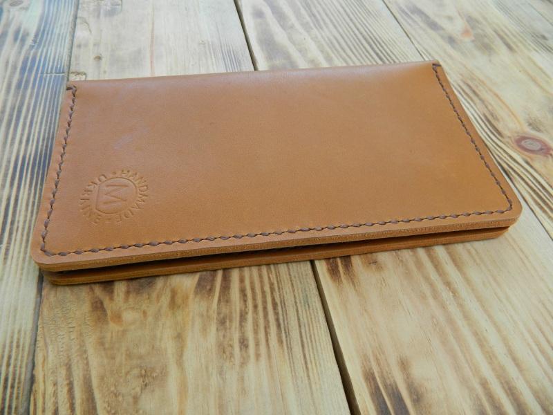 Кожаное портмоне для паспорта, телефона, карт. Цвет загар Коричневый кожа, натуральная кожа, и Онищенко Виталина - фото 2