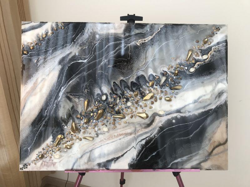Черно белый мрамор  Деревянный планшет, эпокс Палий Наталья - фото 2