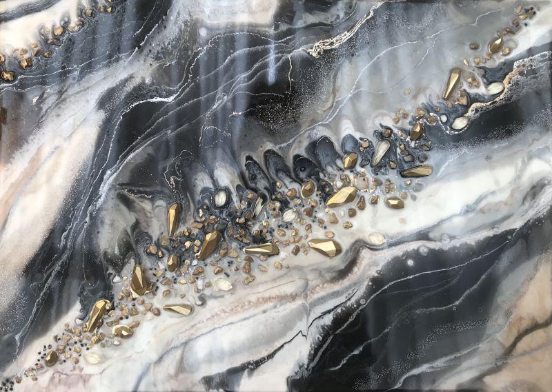 Черно белый мрамор  Деревянный планшет, эпокс Палий Наталья - фото 1