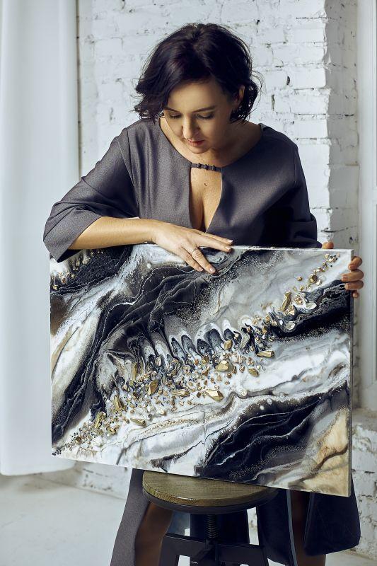 Черно белый мрамор  Деревянный планшет, эпокс Палий Наталья - фото 3