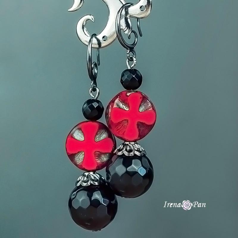 Чорное и красное  граненый агат, муранские Панчук Ирина - фото 1