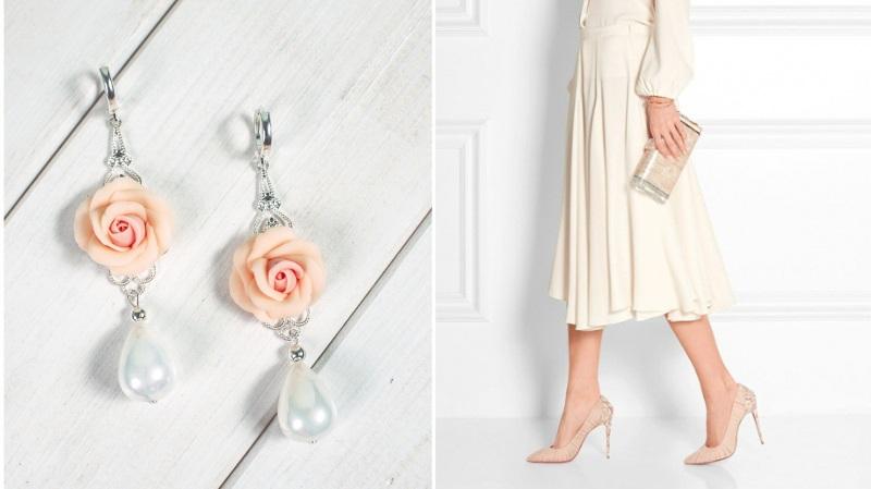 Серьги Пудровые розы Белый Розы ручной работы из пол Панчук Ирина - фото 2