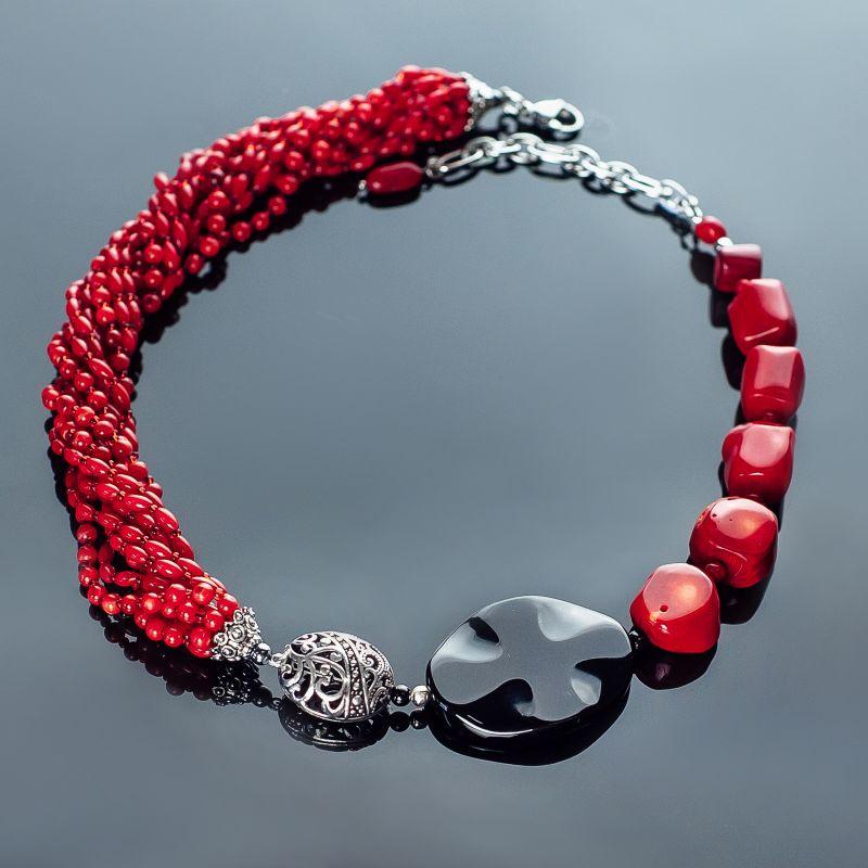 Торжество. Коралл, серебро 925 пробы, агат Красный коралл красный натуральны Панчук Ирина - фото 1