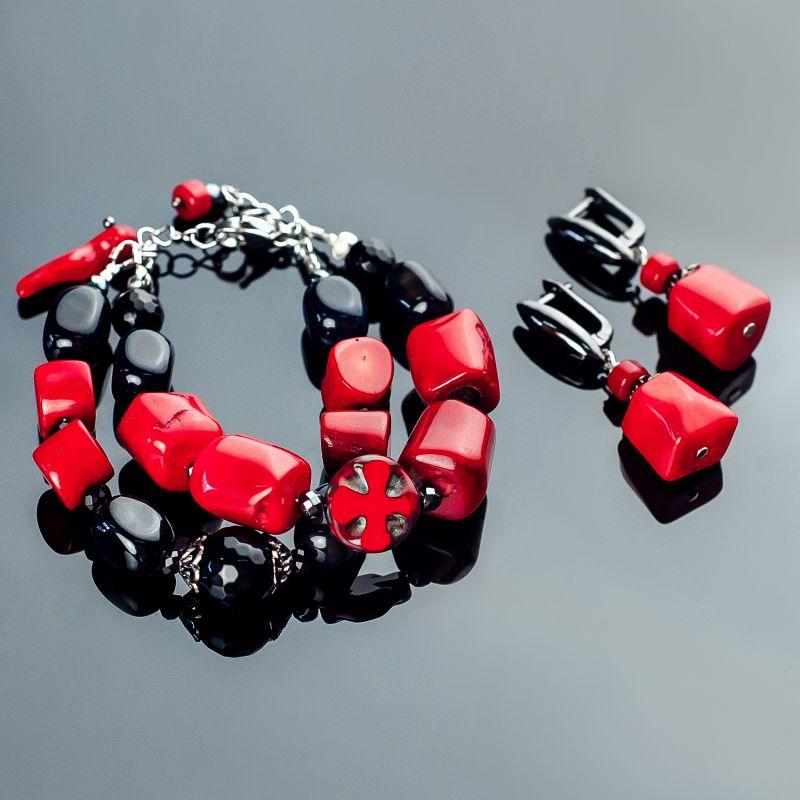 Комплект браслет и серьги. Роскошь коралла. Коралл, агат  коралл красный натуральны Панчук Ирина - фото 1