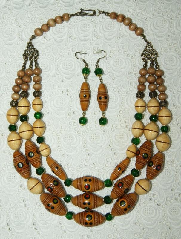 Этно-ожерелье Коричневый Деревянные винтажные буси Павлова Марина - фото 1