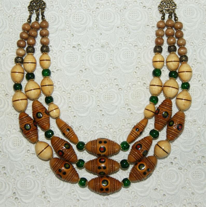 Этно-ожерелье Коричневый Деревянные винтажные буси Павлова Марина - фото 7
