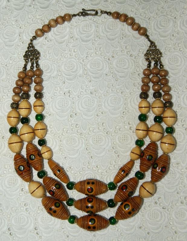 Этно-ожерелье Коричневый Деревянные винтажные буси Павлова Марина - фото 6