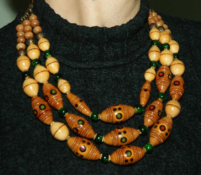 Этно-ожерелье Коричневый Деревянные винтажные буси Павлова Марина - фото 8