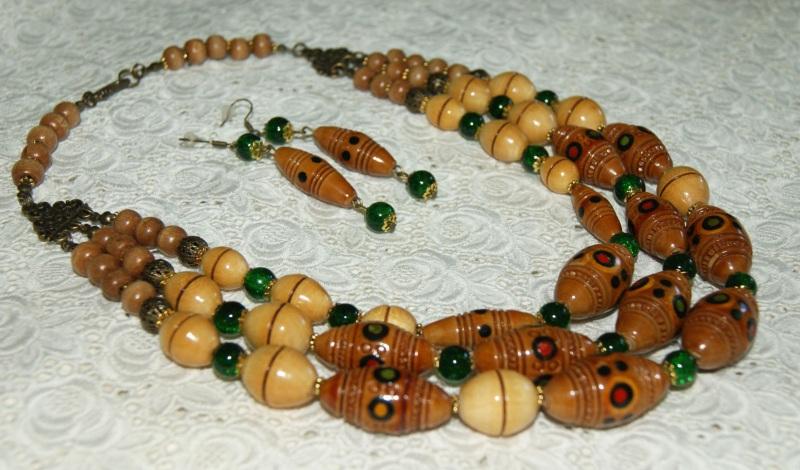 Этно-ожерелье Коричневый Деревянные винтажные буси Павлова Марина - фото 3