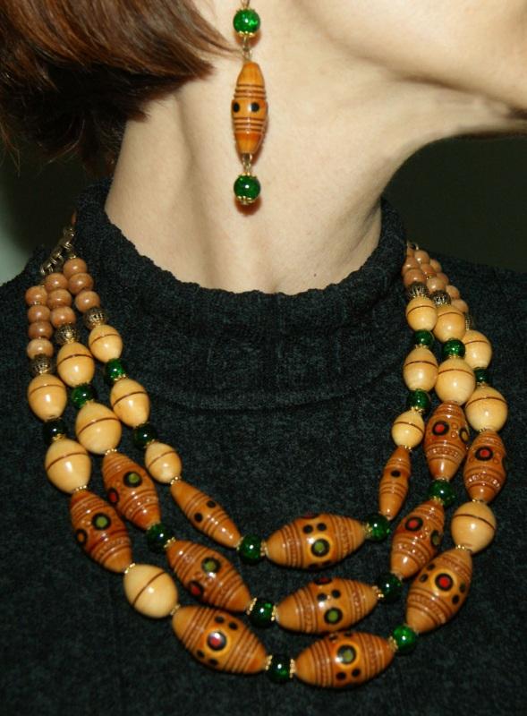Этно-ожерелье Коричневый Деревянные винтажные буси Павлова Марина - фото 2